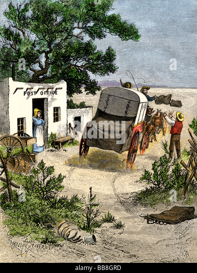 Mail delivered by stagecoach to a post office in the Southwest 1870s - Stock Image