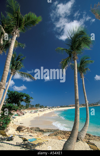 St Maarten Netherlands Antilles Caribbean Maho Beach - Stock Image
