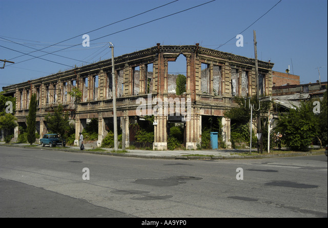 Destroyed building in the city centre of Sukhumi, the capital of Abkhazia. - Stock Image