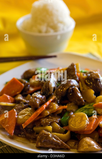 Triple Delight entree Chinese food. - Stock Image