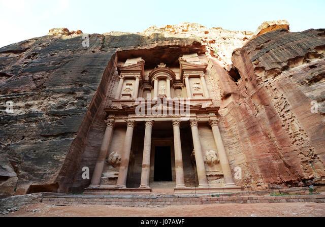 The Treasury (El Khazneh) in the ancient Nabatean city of  Petra in Jordan. - Stock Image