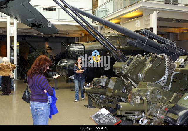 Display of military memorabilia at the Imperial War Museum London - Stock Image