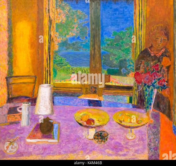 Dining Room on the Garden, by Pierre Bonnard, 1934-1935, Solomon R. Guggenheim Museum, Manhattan, New York City, - Stock Image