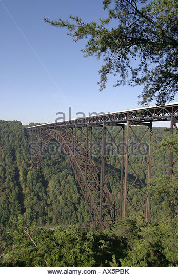 West Virginia Fayetteville New River Gorge National River Canyon Rim Visitor Center Overlook New River Gorge Bridge - Stock Image