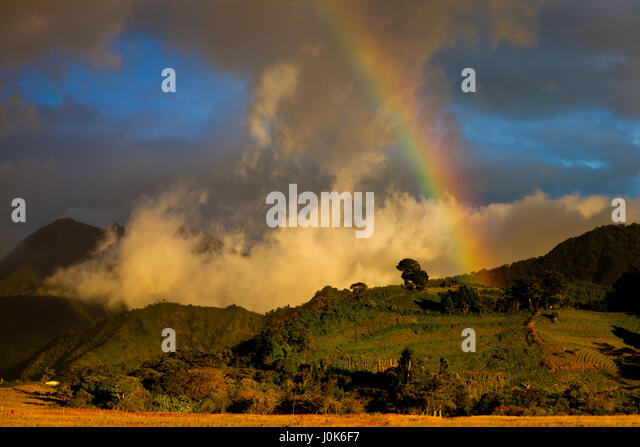Rainbow at sunset in Volcan Baru National Park, Chiriqui province, Republic of Panama. - Stock-Bilder