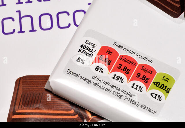 Chocolate bar wrappers showing nutritional information - Stock Image