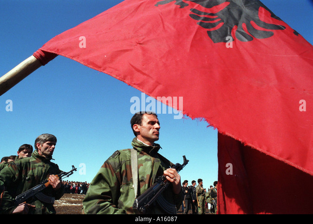Soldiers in the Kosovo Liberation Army honor the anniversary of their struggle February 28 1999 in Lapiste Kosovo. - Stock Image