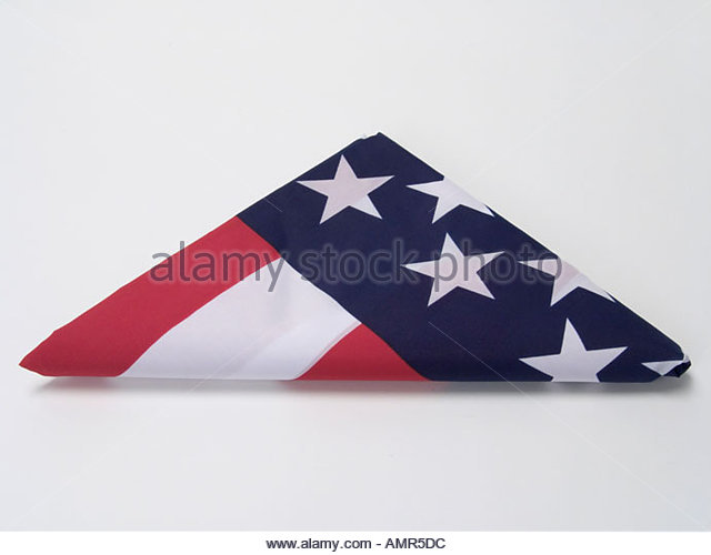 triangular folded American flag - Stock Image