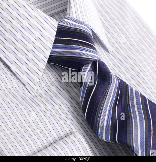 mens striped shirt and tie - Stock Image