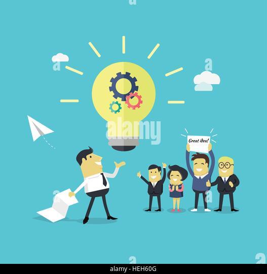 Successful Design Concept Great Idea. Successful design concept great idea design flat. Businessman with a piece - Stock-Bilder