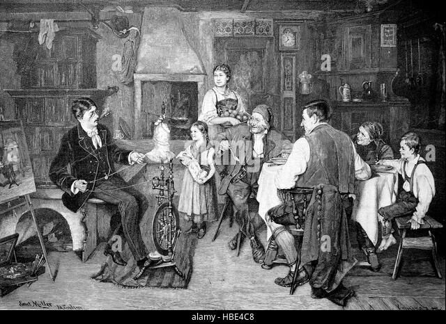 Scene in a bourgeois living room in the 19th century. A man at the spinning wheel, the family at the table while - Stock Image