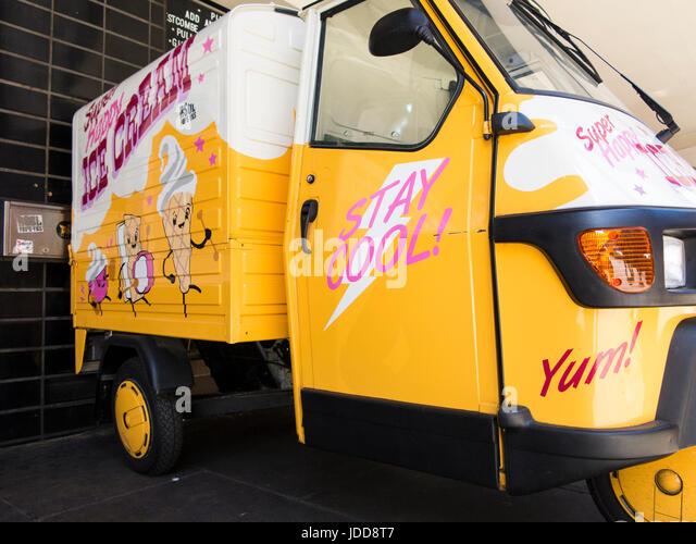 A Super Happy Ice Cream van - Stock Image
