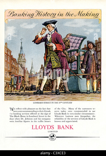 Advertisement for Lloyds Bank, from The Festival of Britain guide, published by HMSO. London, UK, 1951 - Stock-Bilder