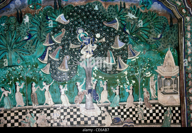 Krishna on tree and Gopis wall painting Bundi Rajasthan India - Stock Image