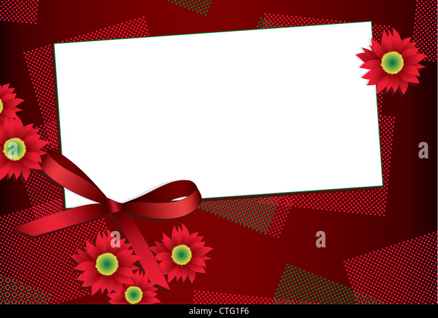 Gift card with flowers and ribbon and copy space for your text - Stock Image
