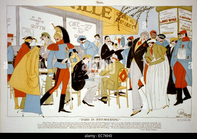 Paris in half-mourning. Caricature of fashionably dressed soldiers and other fashionably dressed people at an outdoor - Stock Image
