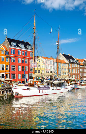 Copenhagen, Denmark - Nyhavn Canal - Stock Image