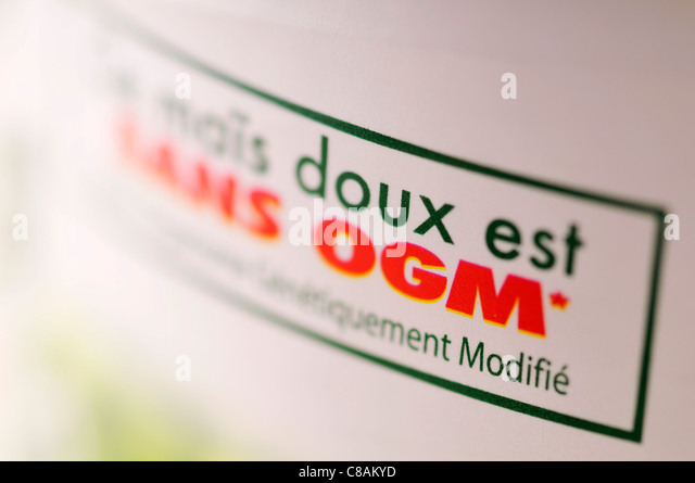 Label : corn with no gm's - Stock Image