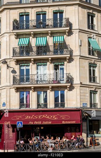 France, Paris, Odeon district, cafe Le petit Suisse - Stock Image