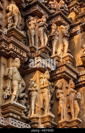 Famous sculptures of Khajuraho temples, India - Stock Image