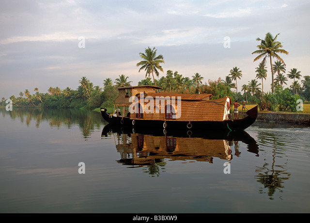 A typical tourist houseboat on the backwaters of Kerala, South India - Stock Image