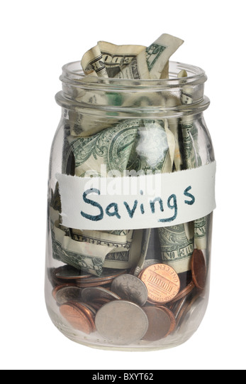 Savings jar on white background - Stock Image