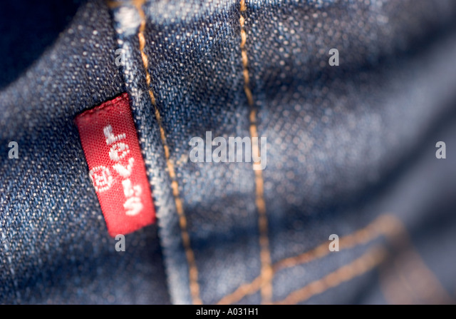 mens denim levi blue jeans 501 501 s with label - Stock Image