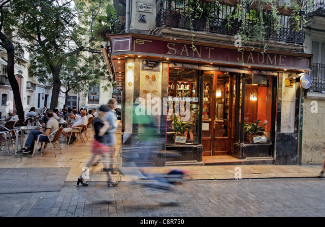 Sant Jaume Bar Cafe in El Carmen, Valencia, Spain - Stock Image