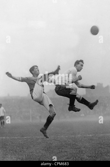 Moment from an English soccer match, 1909 - Stock Image