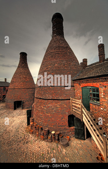 Potbanks in yard from Longton Stoke-On-Trent Great Britain showing potteries heritage at the Gladstone Pottery Museum - Stock Image