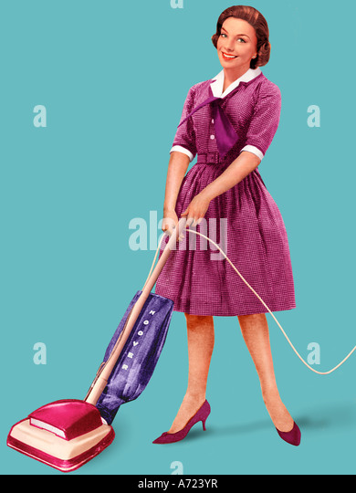 Hoover woman - Stock Image