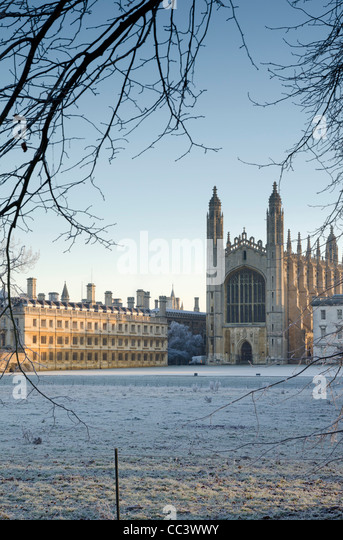 UK, England, Cambridgeshire, Cambridge, The Backs, King's College Chapel in winter - Stock-Bilder