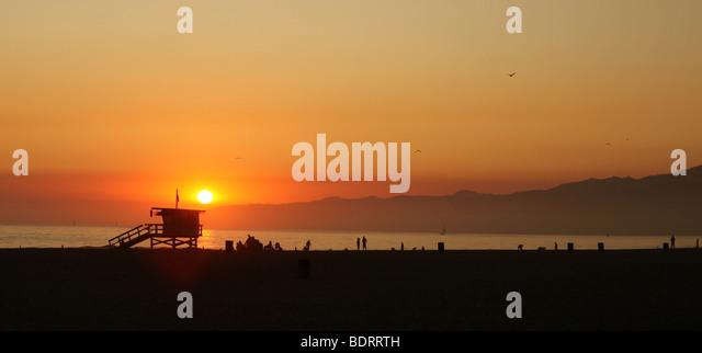 Sunset Along the Sea in Venice Beach California - Stock Image