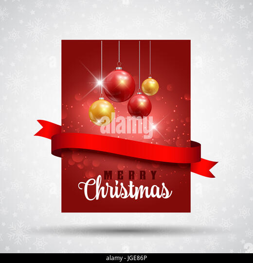 Christmas flier design with baubles and red ribbon - Stock Image