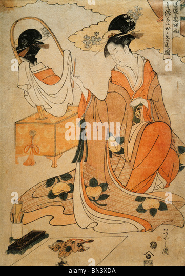 Kiyomori's Daughter Painting Her Portrait to Send to Her Mother, by Chobunsai Eishi. Japan, late 1790s - Stock-Bilder