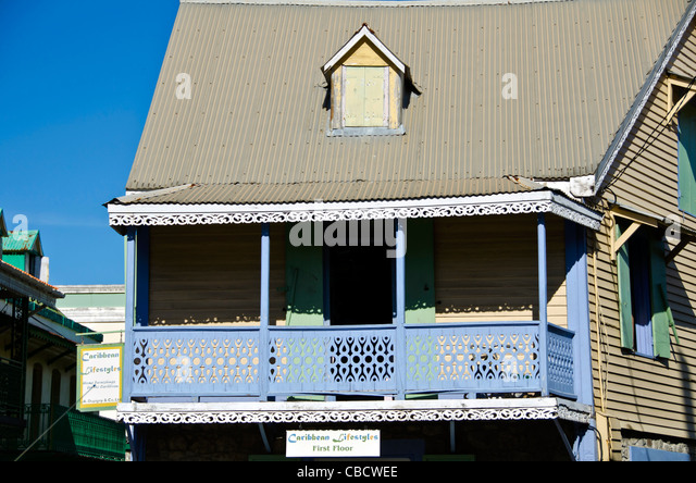Roseau Dominica blue house in colonial French Style architecture - Stock Image