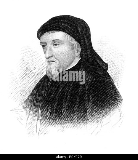 Geoffrey Chaucer, 14th century English author, poet, philosopher, bureaucrat, and diplomat, (c1850). Artist: Unknown - Stock Image