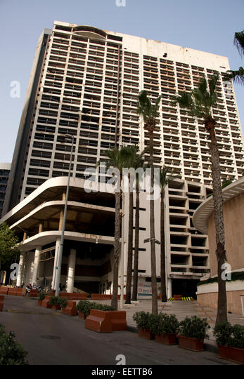 Bombed out Holiday Inn, Beirut, Lebanon - Stock Image
