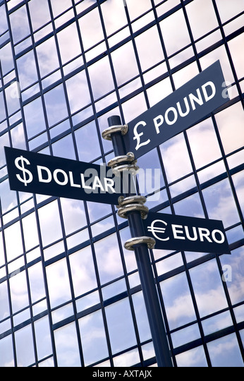 Money concept image of a signpost with Pound Dollar and Euro against a modern glass office building - Stock Image