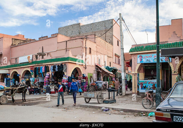 Small towns in Morocco. Streets of shops and everyday life. - Stock-Bilder