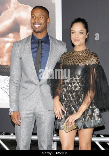 Los Angeles, California, USA. 19th November, 2015. Tessa Thompson and Michael B. Jordan at the Los Angeles premiere - Stock Image