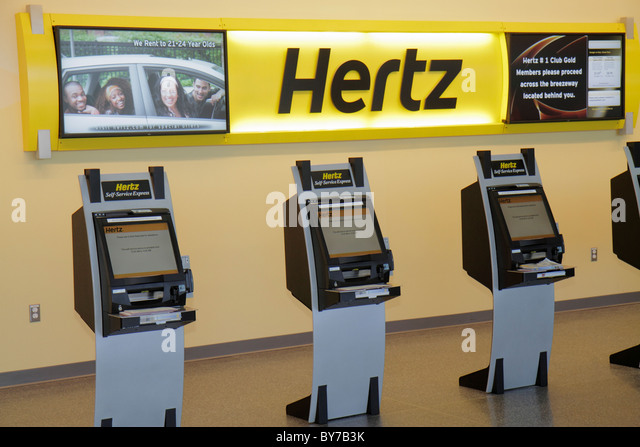 Atlanta Georgia Hartsfield-Jackson Atlanta International Airport Hertz Car Rental rent-a-car car hire business corporation - Stock Image