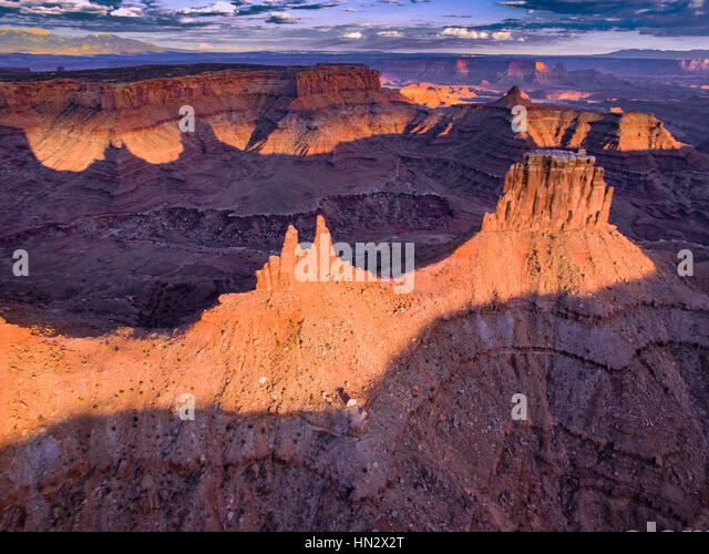 Viewa above Marlboro Point,  Canyonlands National. Park, Utah, Crows Head and Birds Eye Buttes, Shafer Canyon - Stock-Bilder