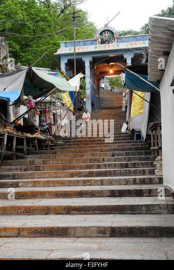Lord Subrahmanya temple at Tirutani reached by climbing 365 steps ; Tamil Nadu ; India - Stock Image
