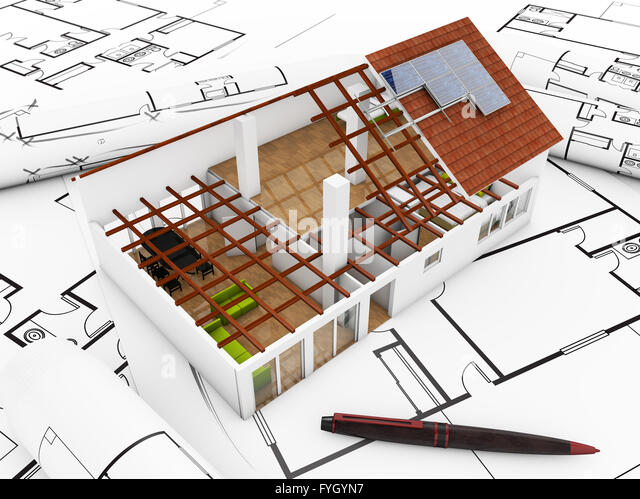 architecture model over technical plots - Stock Image