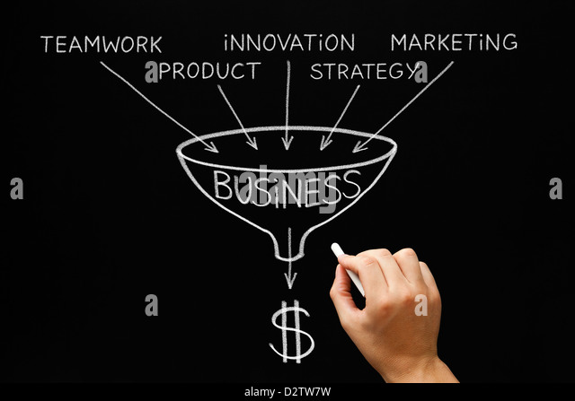 Hand drawing Business concept with white chalk on a blackboard. - Stock-Bilder