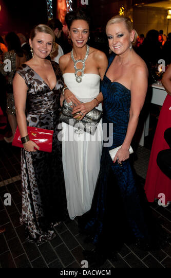 Actress Anne-Sophie Briest (l-r), wife of former tennis star Boris Becker, Lilly Becker and actress Jenny Elvers - Stock Image