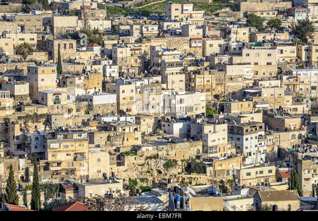 Jerusalem, Israel hillside homes near the old city. - Stock Image