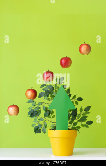 Graph made of apples and arrow pointing up - Stock Image