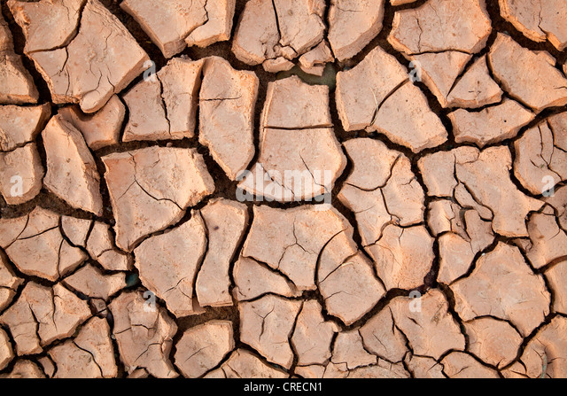 Dried out loamy soil, near Telouet, Morocco, Africa - Stock Image